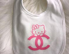 Chanel Hello Kitty Baby Bib | Designer Inspired Bib | Baby Accessory | Baby Burp Cloth