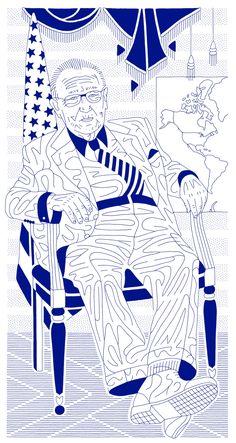 "RACC artist Dmitry Borshch  ""Doctor Kissinger"", also called ""In seine Hand die Macht gegeben"" 2012, ink on paper, 32 x 17 inches  http://archive.is/FeTjY"