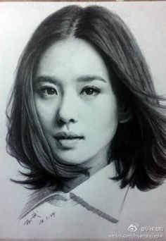 明星 肖像 素描 手绘 黑白 刘诗诗