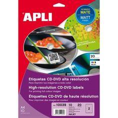 Comprar Etiquetas Cd/dvd Mate Alta Resolución Apli 10039 #multimedia #etiquetas #blancas #CD #DVD #mate #altaresolucion