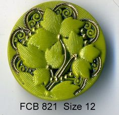 Czech glass button green and gold floral design - size 12, 27mm FCB 821