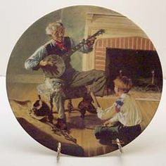 The Banjo Player collector plate by Norman Rockwell Norman Rockwell, Banjo, Decorative Plates, Display, Country Living, Painting, Collection, Art, Floor Space