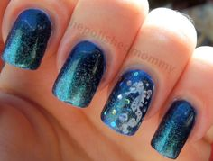 Adorable seahorse nails done by ThePolishedMommy B., inspired by a trip to the aquarium!