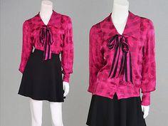 Vintage 80s #oscar de la renta fuschia pink silk blouse #secretary satin #jacquar,  View more on the LINK: http://www.zeppy.io/product/gb/2/171808798630/