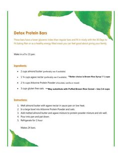 Detox Protein Bar Recipe with Puffed Rice and Brown Rice Syrup. http://luzmariaheredia.arbonne.com