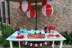 aqua and red pool float | Dukes and Duchesses: A Red and Turquoise Pool Party