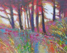 landscape art, acrylic painting, Sunlight On Trees
