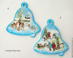 """Деревянные подвески """"Веселые деды Морозы """" - синий,новогодние подвески"""
