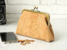 """Cork fabric evening bag with turquoise lining 