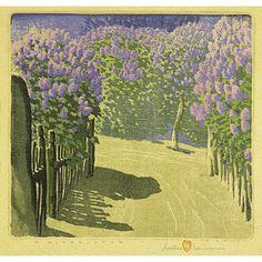"""GUSTAVE BAUMANN  Woodblock print, """"A Lilac Year"""""""