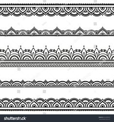 Set of seamless borders for design application of henna Mehndi and tattoo Decorative pattern in ethnic oriental style Lace Drawing, Mandala Drawing, Mandala Tattoo, Border Pattern, Border Design, Mandala Pattern, Zentangle Patterns, Zentangles, Henne Tattoo