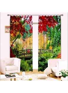 Scenery Curtains 3d seagulls and flowers with seaside balcony printed decoration