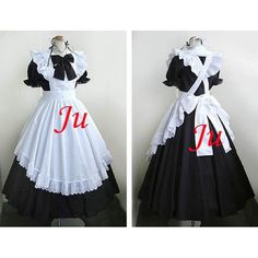 Free Shipping Sexy Sissy Maid Cotton Long Dress Uniform Cosplay Costume Tailor-made