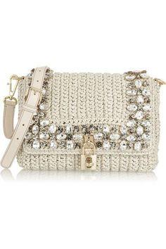 Dolce Gabbana Crystal Embellished Raffia Shoulder Bag..: