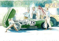 44.Jaguar C type 1952 Monaco Grand Prix with Stirling Moss. Mille Miglia's Art.