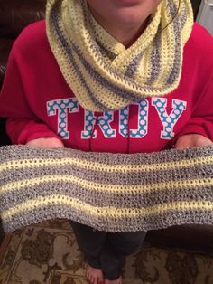 1st & 2nd crochet project during Christmas. Infinity scarves :-)