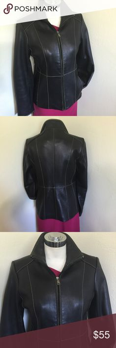Marc New York Black Chic Leather Jacket Coat S 4 6 Label- Marc New York Style-Simple Classic Clean Urban Lines, Zip front, two slash pockets, fully lined  Size-Small But runs big will fit a 4, 6 Measurements- B-38, W-35, H-42 Length from underarm to hem- 17, Between Shoulders- 14  Color-Black  Fabric-100% Leather, 100% Acetate Polyester, Condition-Barely used, we don't ever wear coats in south Florida, excellent condition Origin-China Marc New York Jackets & Coats