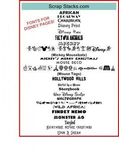A Magical Scrap Stacks Summer: Disney fonts  ~~ {22 Free fonts w/ easy download links}