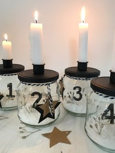 DIY: Adventskranz basteln . Ausgefallene Adventskranz Idee ohne Tanne mit alten Einmachgläsern für einen kuscheligen Advent und Winter. Skandinavischen Adventskranz selber machen aus Gläsern. Zero Waste. #chalet8 #adventskranz #advent #selbermachen #zerowaste Xmas Decorations, Pillar Candles, Candle Holders, Shabby Chic, Inspiration, Instagram, Diy Upcycling, Happy Sunday, Tricks