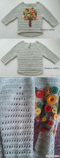 einfach gestrickt : Beautiful crochet sweater with filet design on sleeves, tree made with buttons, . Baby Pullover, Baby Cardigan, Crochet Cardigan, Knit Crochet, Cardigan Pattern, Crochet Pillow Patterns Free, Baby Knitting Patterns, Girls Sweaters, Baby Sweaters