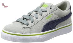 Puma  Puma S Denim Jr, Low-top enfant mixte - Gris - Grau (limestone gray-denim-lime green 01), 37.5 EU - Chaussures puma (*Partner-Link)