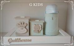 G KIDS: Kit Higiene Safari, Decoração Quarto de Bebê Verde, baby decor, baby room, DECORAÇAO DE QUARTO DE MENINO, decoraçao quarto bebê, enfeite de quarto, kit higiene, KIT HIGIENE SAFARI VERDE, kit higiene xadrez, #nursery #cute
