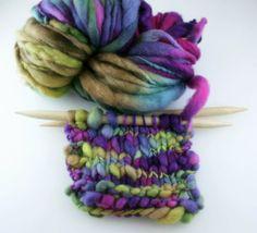 Hand dyed yarn thick and Thin Yarn hand spun merino Nebulae