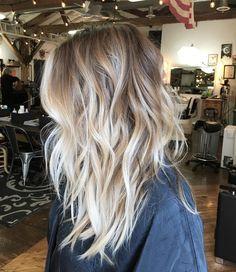 Messy Dark-Blonde Hair with Vanilla-Blonde Balayage and Chunky, Wavy Layers