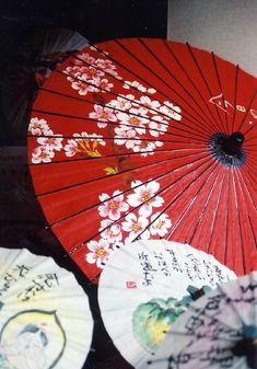 Sakura blossoms on red japanese umbrella Oil Paper Umbrella, Paper Umbrellas, Red Umbrella, Umbrellas Parasols, Under My Umbrella, Japanese Culture, Japanese Art, Art Asiatique, Memoirs Of A Geisha