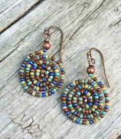 Colorful Boho Spiral Beaded Earrings