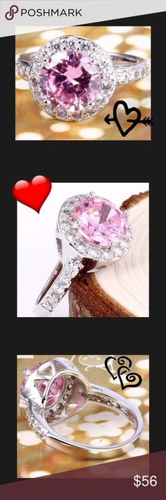 Sterling Silver Brand New Beautiful Pink/white Topaz Set In .925 Sterling a Silver Sterling Silver Jewelry Rings