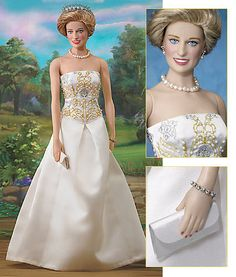 A beautiful doll of Lady Diana wearing one of her famous evening dresses & tiaras, made by Frankle Mint Doll in USA.