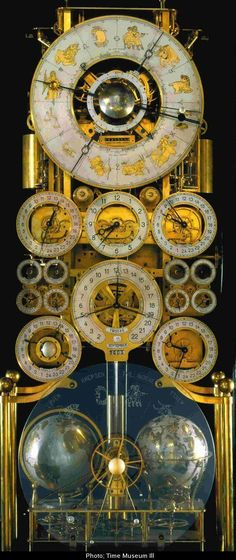 """ollebosse: """" The """"Clock No. by Rasmus Sørnes Apart from the pendulum it was entirely handmade, as were his tools. It includes: locations of the sun and moon, Julian calendar, Gregorian calendar,. Father Time, Cool Clocks, Antique Clocks, Vintage Clocks, Vintage Room, Time Clock, Telling Time, Objet D'art, Steampunk"""