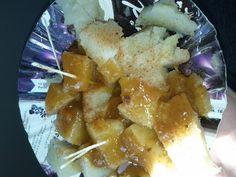 sweet potato with tamarind sauce, street food pakistan