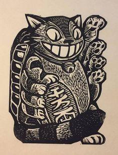 image can find Maneki neko and more on our website. Maneki Neko, Art And Illustration, Arte Indie, Marquesan Tattoos, Desenho Tattoo, Arte Horror, Art Graphique, Linocut Prints, Art Design
