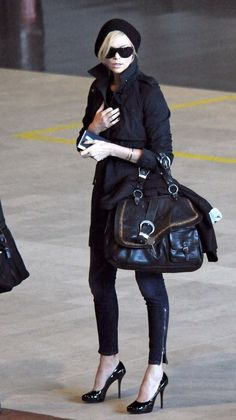 Charlize Theron - Love this all black combo.