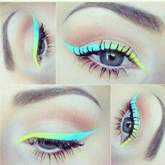 neon gradient eyeliner using Lime Crime liquid liners in BlueMilk & Citreuse Eyeliner Designs, Eye Makeup Designs, Makeup Goals, Makeup Inspo, Makeup Inspiration, Makeup Ideas, Makeup Blog, Makeup Art, Hair Makeup