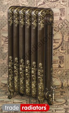Burlington radiator finished in OLD PENNY with GOLD highlight effect metallic finish. Best Radiators, Steam Radiators, Old Radiators, Cast Iron Radiators, Heating Radiators, Victorian Interiors, Victorian Decor, Victorian Radiators, Deco Retro