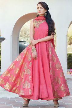 Pink Raw Silk Dori Embroidered Salwar-SL8380