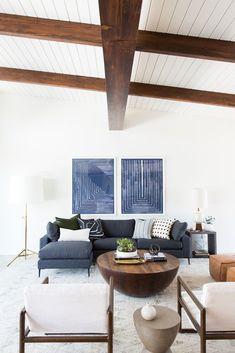 Navy, white and natural color story for a modern living room design   Image via Studio McGee #livingroomdesignsmodern