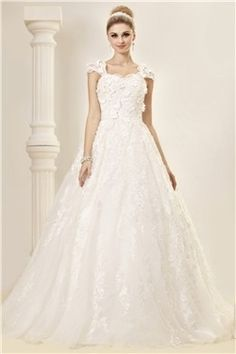 Stunning A-line Capped-Sleeves Floor-length Court Lace Dasha's Wedding Dress EF90676