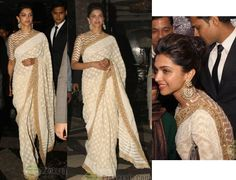 Before her bash on Sat night, Deepika picked up an Indian Of The Year Awards in Delhi for her special achivement in 2013 that included five blockbuster movies. For the event, she kept it traditional in an Abu Jani Sandeep Khosla sari, The highlight of the look wasn't the earrings but the chevron blouse. She looked great!