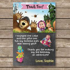 Masha and the Bear invitation Masha and the Bear by PartyGiraffe