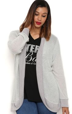 Plus Size Long Sleeve Striped Duster Cardigan with Contrast Details