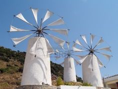 Windmills with fabric blades, Lasithi, Crete, Greece.