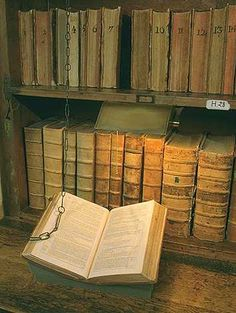 chained books from Cambridge College...Like Harry Potter and the Philosopher Stone