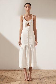 Aria Drop Waist Corset Midi Dress | Cream | Dresses | Shona Joy