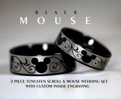 Formal Black And Silver MOUSE 2 Piece Tungsten Wedding Rings 6MM And 8MM