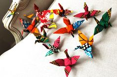 Items similar to Bridal Favors Decoration Origami Cranes Flock of Cranes - 12 birds - ready assembled on Etsy Fabric Origami, Origami Cranes, Origami Birds, Paper Cranes, African Christmas, Origami Wedding, Useful Origami, Wedding Fabric, African Fabric