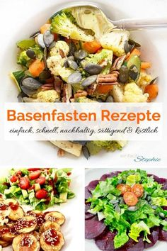 Schnelle, einfache Rezepte zum Basenfasten – Teil 1 Salad Recipes, Healthy Recipes, Cobb Salad, Whole 30, Mozzarella, Clean Eating, Easy Meals, Food And Drink, Vegan